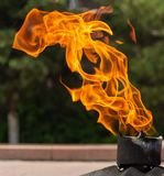 Eternal flame near the monument. Eternal fire constantly burning fire, symbolizing the eternal memory of something or about someone. Continuous combustion is royalty free stock photography