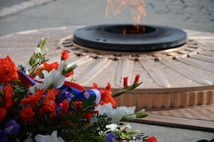 Eternal flame. On grave of the unknown soldier Royalty Free Stock Images