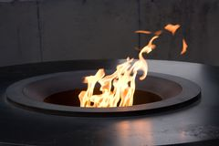 Eternal flame. In Tsisernakaberd Memorial Complex (memorial of the Armenian Genocide) in Armenia royalty free stock image