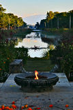 Eternal flame. Lumbini buddhist temples in the eternal flame, (nepal stock photo