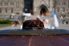 Eternal flame before the Canadian Parliament.  Royalty Free Stock Photo