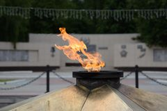 Eternal flame. Constantly burning fire, symbolizing eternal memory Royalty Free Stock Photos