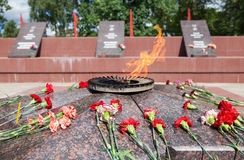 Eternal flame and flowers in memory of the Victory in the Great Stock Photo