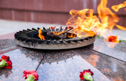 Eternal flame. And flowers in memory of the Victory in the Great Patriotic War Stock Images