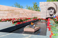 Eternal flame and flowers in memory of the Victory in the Great Stock Images