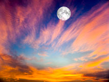 Eternal Flame,full moon on the sky and blur cloud Royalty Free Stock Image