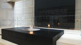 The eternal flame in the hall of remembrance at the US Holocaust Memorial Museum stock footage