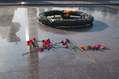 Eternal flame in honor of the fallen Soviet soldiers during the Second world war,. Red carnations Royalty Free Stock Photos
