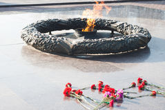 Eternal flame in honor of the fallen Soviet soldiers during the Second world war,. Red carnations Royalty Free Stock Image