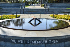 Eternal Flame in Kings Park. Perth, Australia. With the inscription We Will Remember Them royalty free stock photography