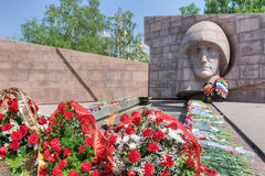 The eternal flame in the memorial complex of city Samara, Russia Stock Photos