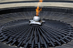 Eternal flame. Memorial & x22;Grieving mother& x22;, Karl Marx Square, Rostov-on-Don, Russia Stock Image