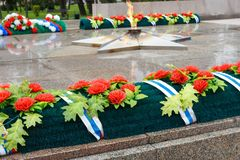 Eternal flame of Memorial to the fallen of the Second World War is located in front of Irkutsk. Russia Royalty Free Stock Images