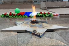 Eternal flame of Memorial to the fallen of the Second World War is located in front of Irkutsk. Russia Stock Images