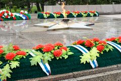 Eternal flame of Memorial to the fallen of the Second World War is located in front of Irkutsk. Russia Stock Photo