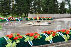 Eternal flame of Memorial to the fallen of the Second World War is located in front of Irkutsk. Russia Stock Photos