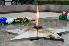 Eternal flame of Memorial to the fallen of the Second World War is located in front of Irkutsk. Russia Royalty Free Stock Photo