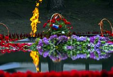Eternal Flame at the memorial. To the unknown soldier in Pyatigorsk stock photos