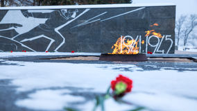 Eternal flame monument in memory of soldiers who died during the. Second World War. Blurred foreground. Kremlin, Nizhniy Novgorod, Russia Royalty Free Stock Photos