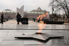 Eternal flame monument. Soviet Army Monument burning flame of eternal fire in honor of the victory in World War II Royalty Free Stock Images