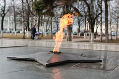 Eternal flame monument. Soviet Army Monument burning flame of eternal fire in honor of the victory in World War II Royalty Free Stock Photos