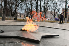 Eternal flame monument. Soviet Army Monument burning flame of eternal fire in honor of the victory in World War II Royalty Free Stock Photography