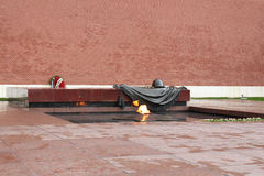 The Eternal Flame in Moscow at the tomb of the Unknown Soldier. The Eternal Flame at the tomb of the Unknown Soldier. Moscow Stock Image