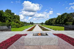 Eternal flame at Piskaryovskoye memorial cemetery in Leningrad. Royalty Free Stock Photography