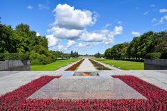 Eternal flame at Piskaryovskoye memorial cemetery in Leningrad. Royalty Free Stock Images