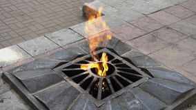 The eternal flame in Russia. Slow motion stock video
