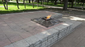 The eternal flame in Russia. Slow motion stock footage