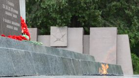 Eternal Flame of the Sapun-Mountain Memorial Complex, with sound stock video footage