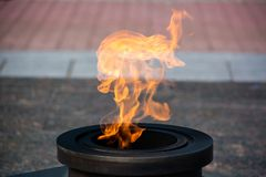 Eternal flame on the street. Close up royalty free stock images