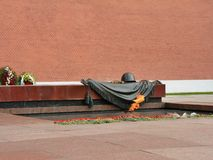 Eternal flame at the Tomb of the Unknown Soldier in the Kremlin.  stock photo