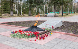 The Eternal Flame at the tomb of the Unknown soldier. Rzhev city, Tver region. Royalty Free Stock Photography