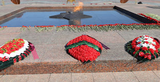 Eternal Flame at Victory Park on Poklonnaya Hill , Moscow, Russia. Stock Images