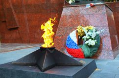 Eternal flame in Zvenigorod, Russia Royalty Free Stock Photos