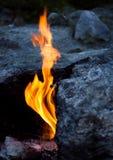 Eternal flames, Turkey. Unique phenomenon of nature, eternal flames- flames of chimera, Turkey stock image