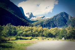 Eternal glaciers and green mountains . Royalty Free Stock Photography