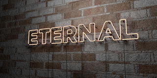 ETERNAL - Glowing Neon Sign on stonework wall - 3D rendered royalty free stock illustration Stock Images