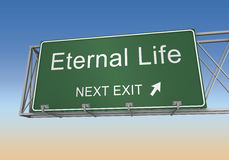 Eternal life road sign 3d illustration Stock Photos