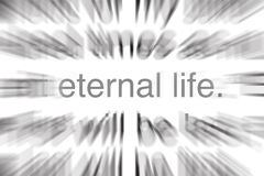 Eternal Life in Scripture. Words eternal life from scripture with blur for focus Royalty Free Stock Photography