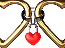 Eternal Padlock Frame. Two big golden hearts are eternally connecting with hot eternal love padlock Royalty Free Stock Image