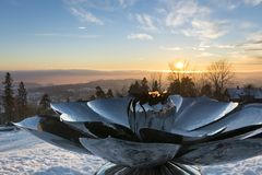 Eternal Peace flame on Oslo hill Royalty Free Stock Photo