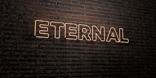ETERNAL -Realistic Neon Sign on Brick Wall background - 3D rendered royalty free stock image Royalty Free Stock Image