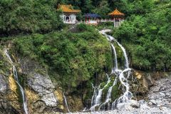 Eternal Spring Shrine Taroko. Eternal Spring Shrine in Taroko national park viewed from the distance. The iconic shrine is also called Changchun shrine. Taiwan stock photo