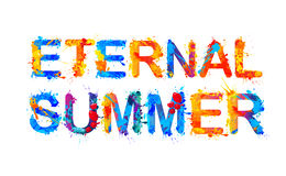 Eternal summer, splash paint inscription Stock Image