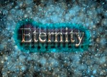 Eternity abstraction / Eternity digital design. Shiny and glossy word `Eternity` with background of sparkles and lightspots in soft blue and golden colors. Glass Stock Images