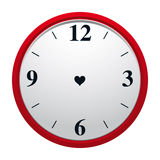 Eternity Clock. Clock with heart shaped hole in dial plate and with no minute and hourhand. Eternity of true love symbol Stock Image