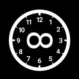 Eternity, infinity and eternal infinite time. Clock dial and lemniscate symbol - eternity, infinity and eternal infinite time. Vector illustration of Stock Photo